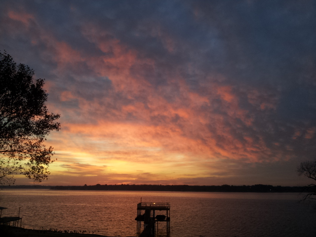 Picture taken with Samsung smart phone on December 10th, 2014 at 706 at Northwood Shores on Cedar Creek Lake in East Texas.  Copyright 2014 by John J. Rigo